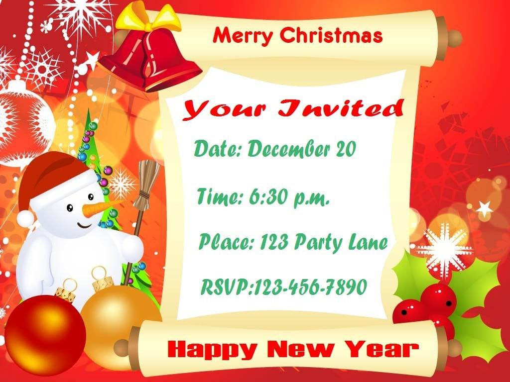 Christmas Invitations Templates Free 2015