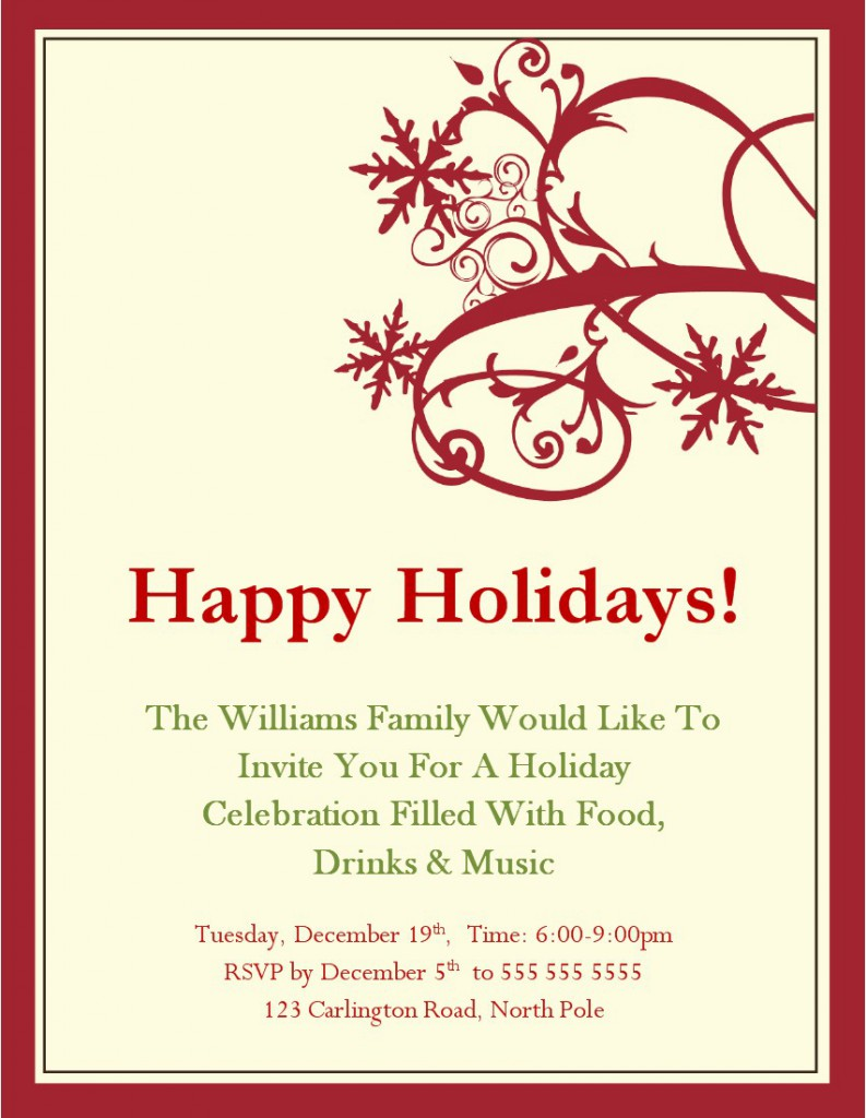 christmas party invitations templates free – Invitation Templates Free Word