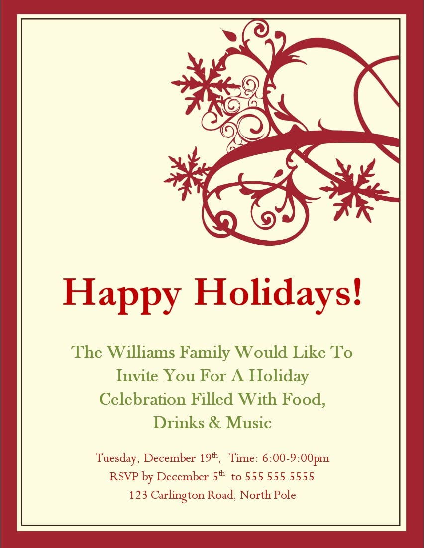Christmas Party Invitations Print At Home