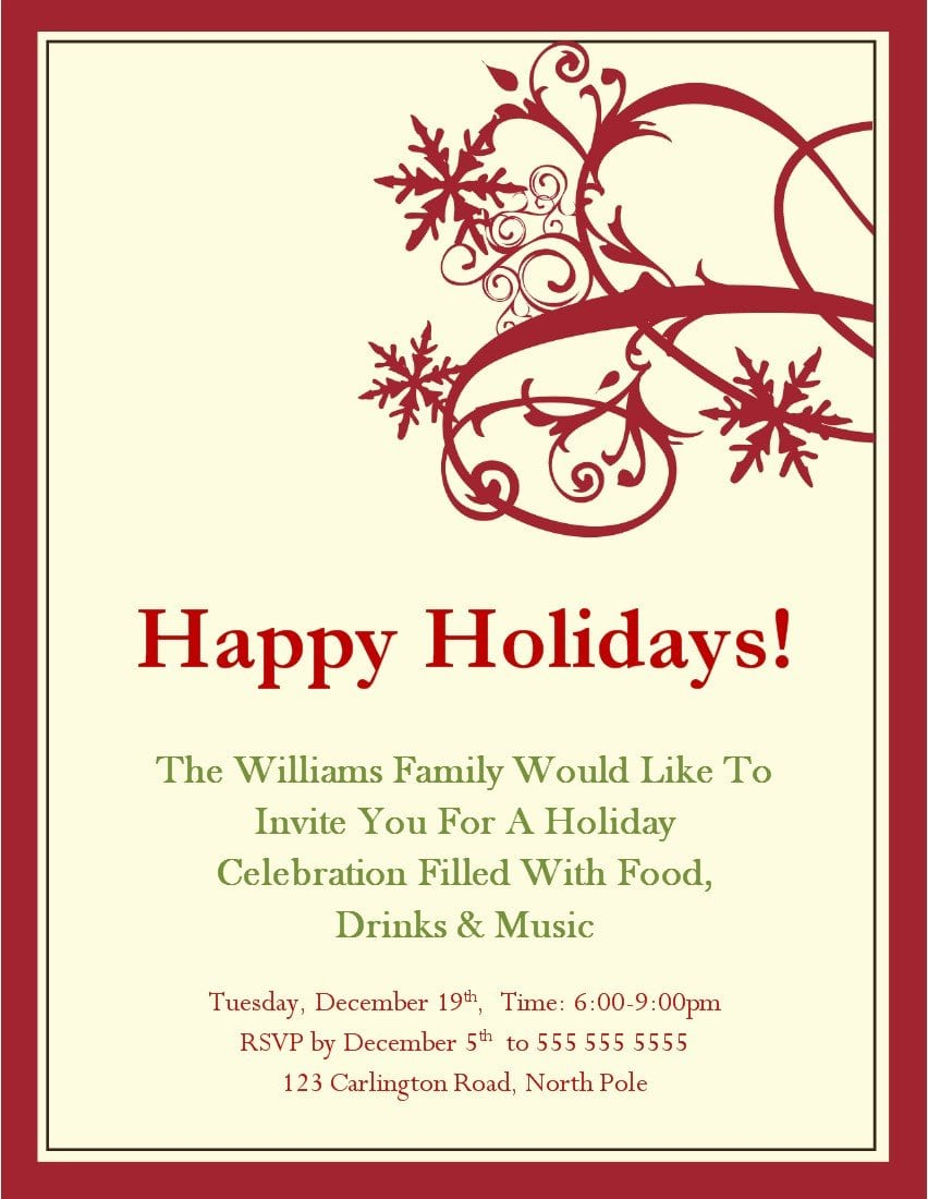 Christmas Party Invitations Templates Microsoft qsTGrcOx