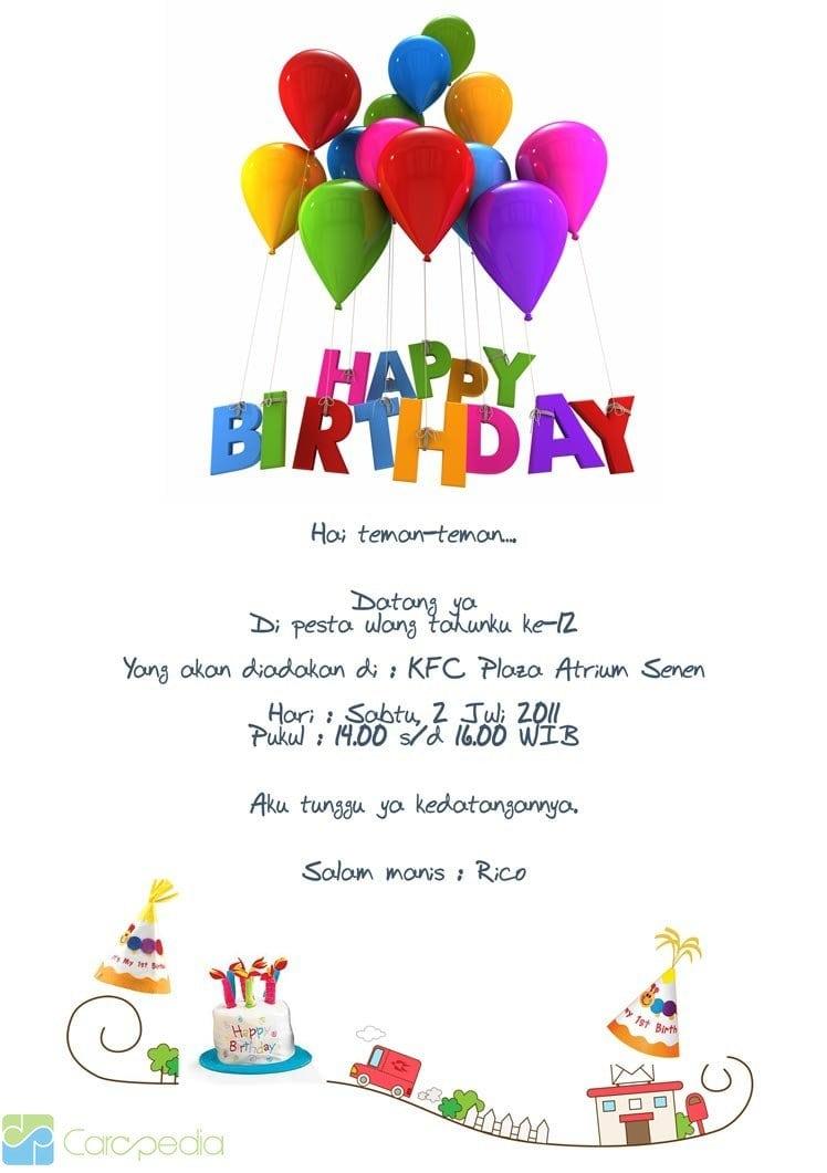 Contoh Invitation Birthday Party Dalam Bahasa Inggris