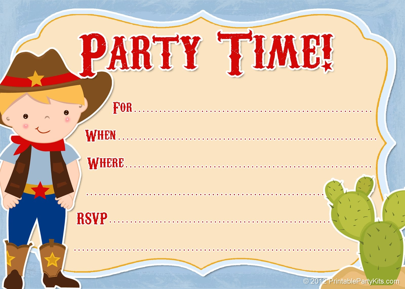 Cowboy Party Invitations Templates