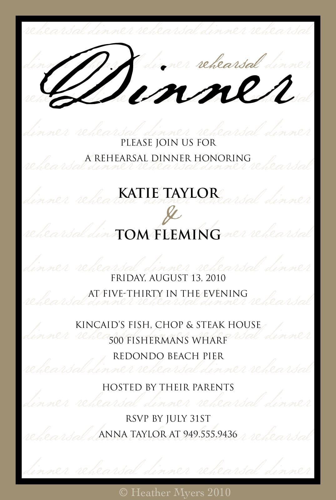 Dinner Party Invitation Template Free Printable