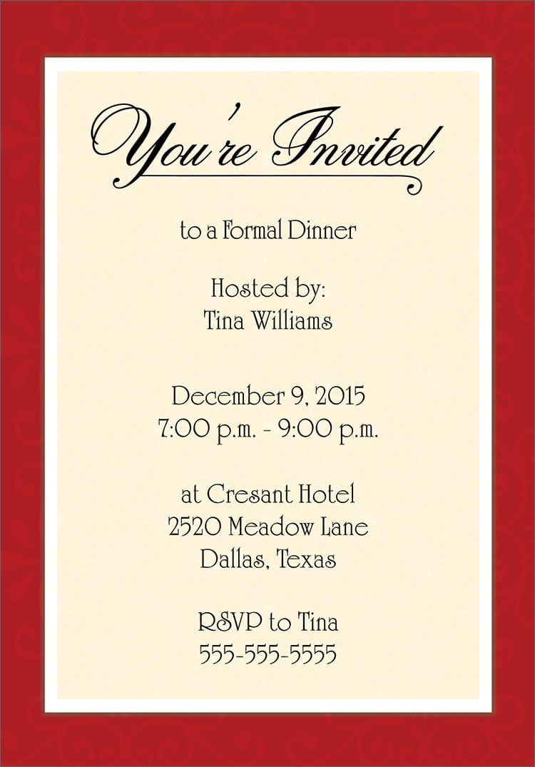 dinner invitation template free printable – Free Dinner Invitation Templates Printable