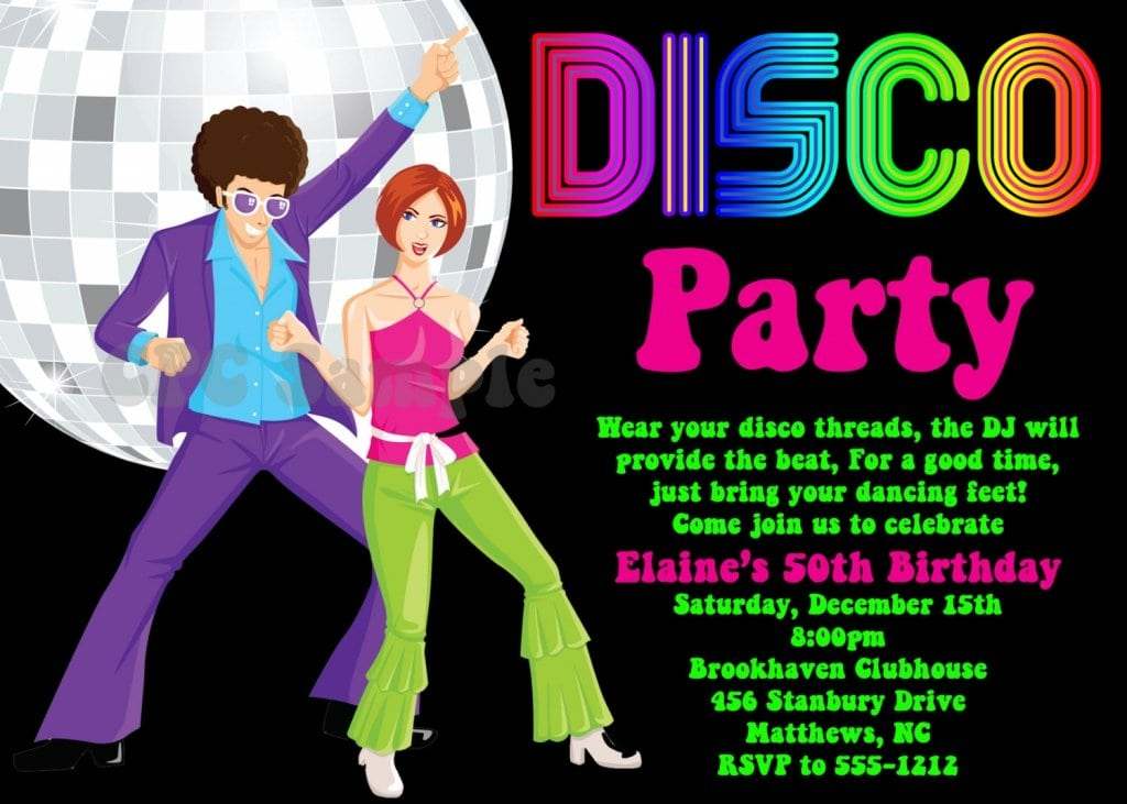 Disco Party Invitation Cards
