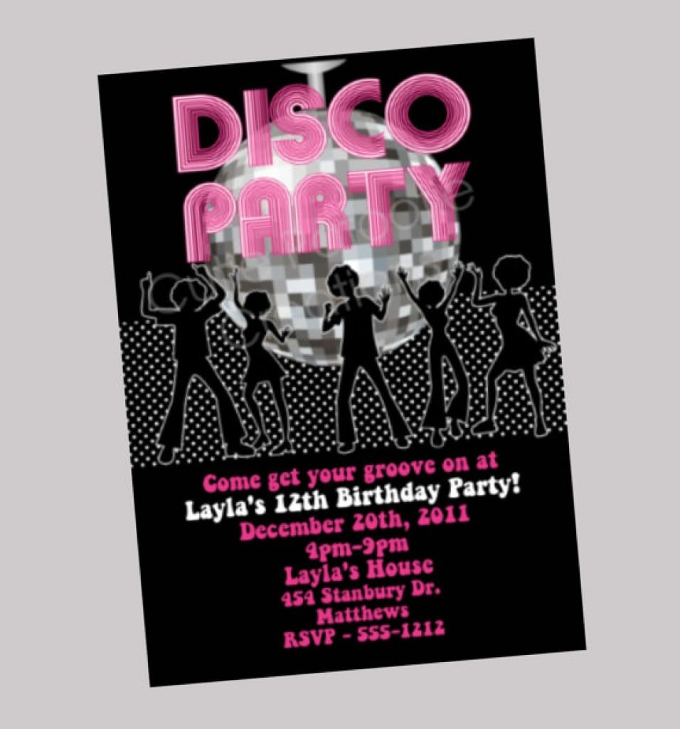 Disco Party Ticket Invitations Template 4