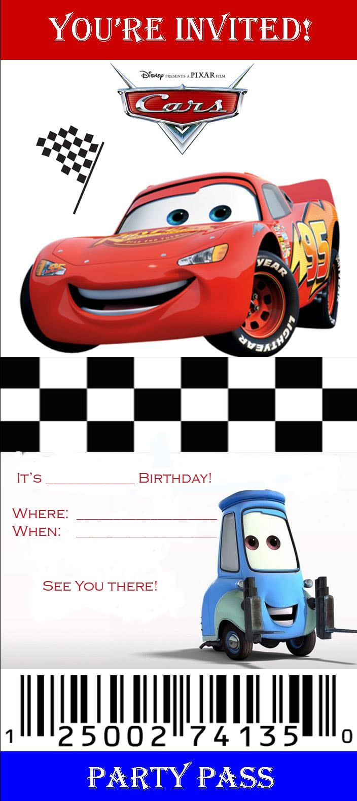 Disney Cars Birthdays Invitation Templates