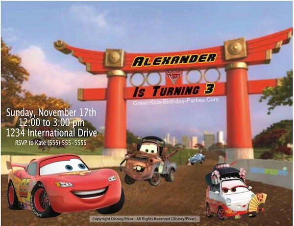Disney Cars Invitation Free Download 4