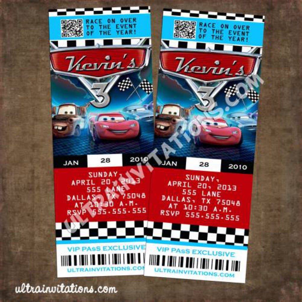 Disney Cars Invitations 2
