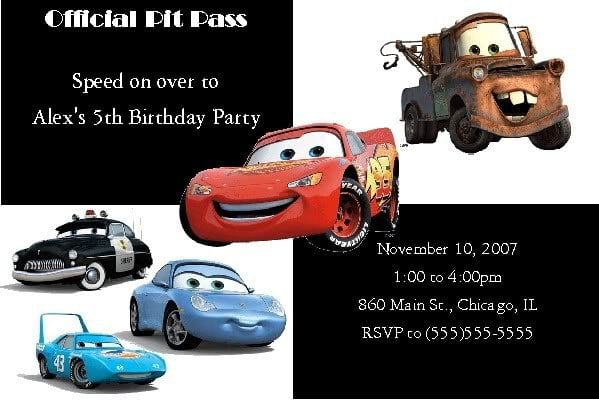 Disney Cars Invitations Templates Free 3