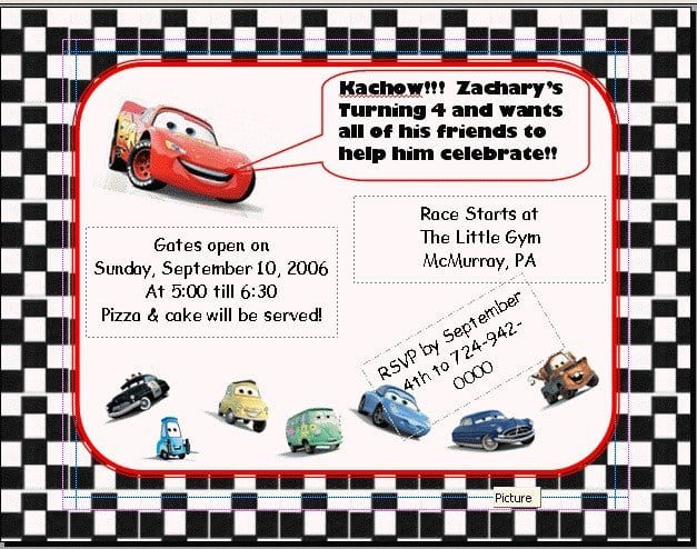 Cars Invitation Card Template Free: Disney Cars Invitations Templates Free