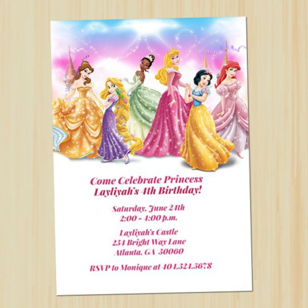 Disney Princess Birthday Invitations 2