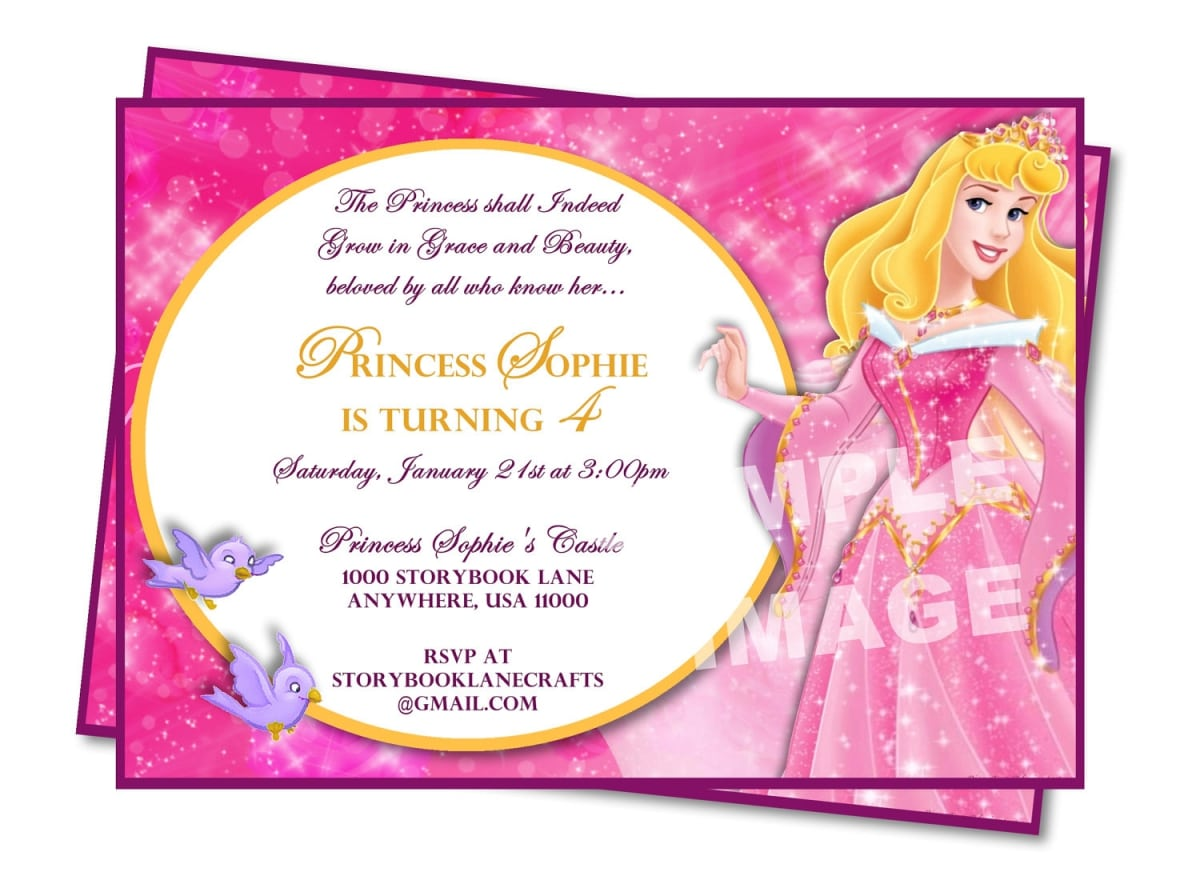 Disney Princess Birthday Party Invitation Templates
