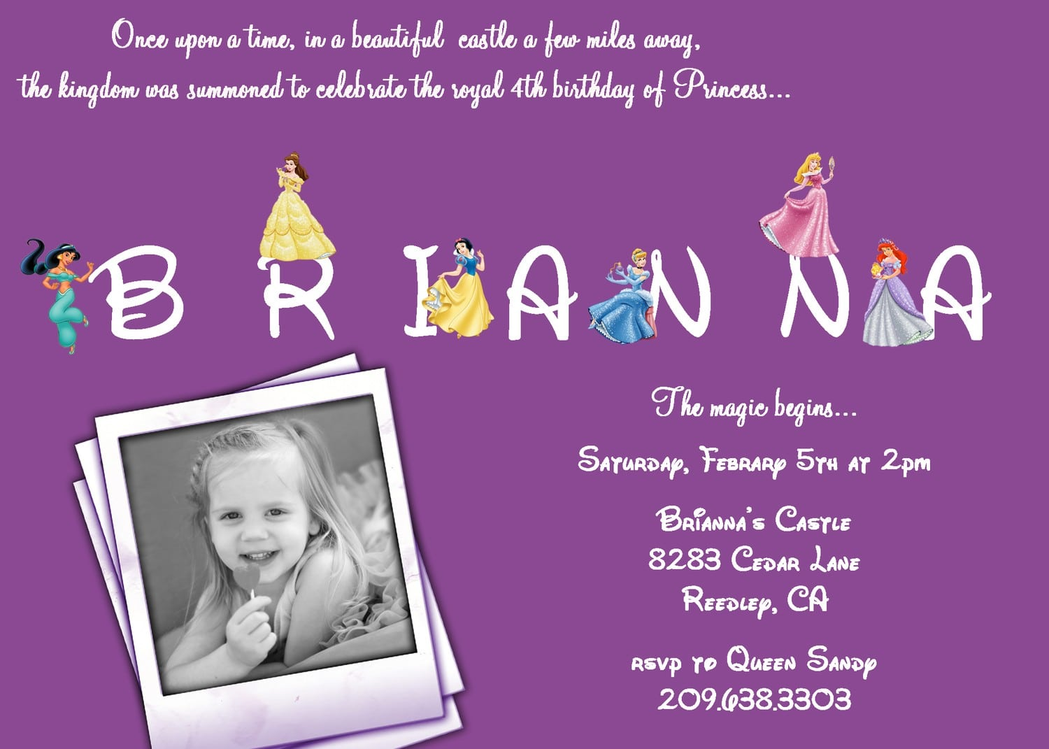 Disney Princess Invite Wording