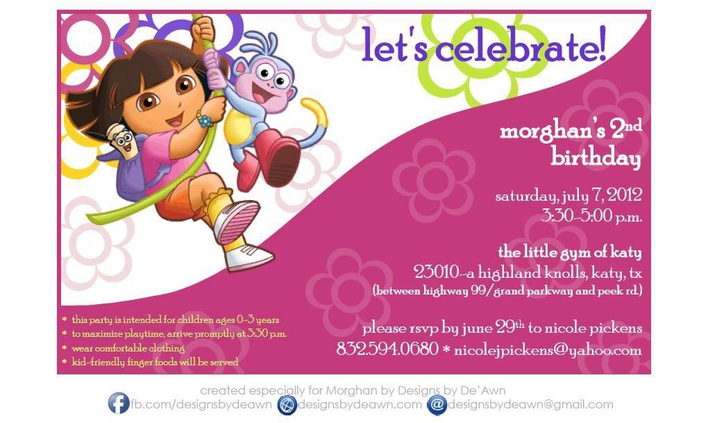 Dora Invitation Ticket 3