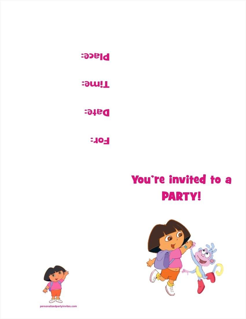 Dora Printable Invitations