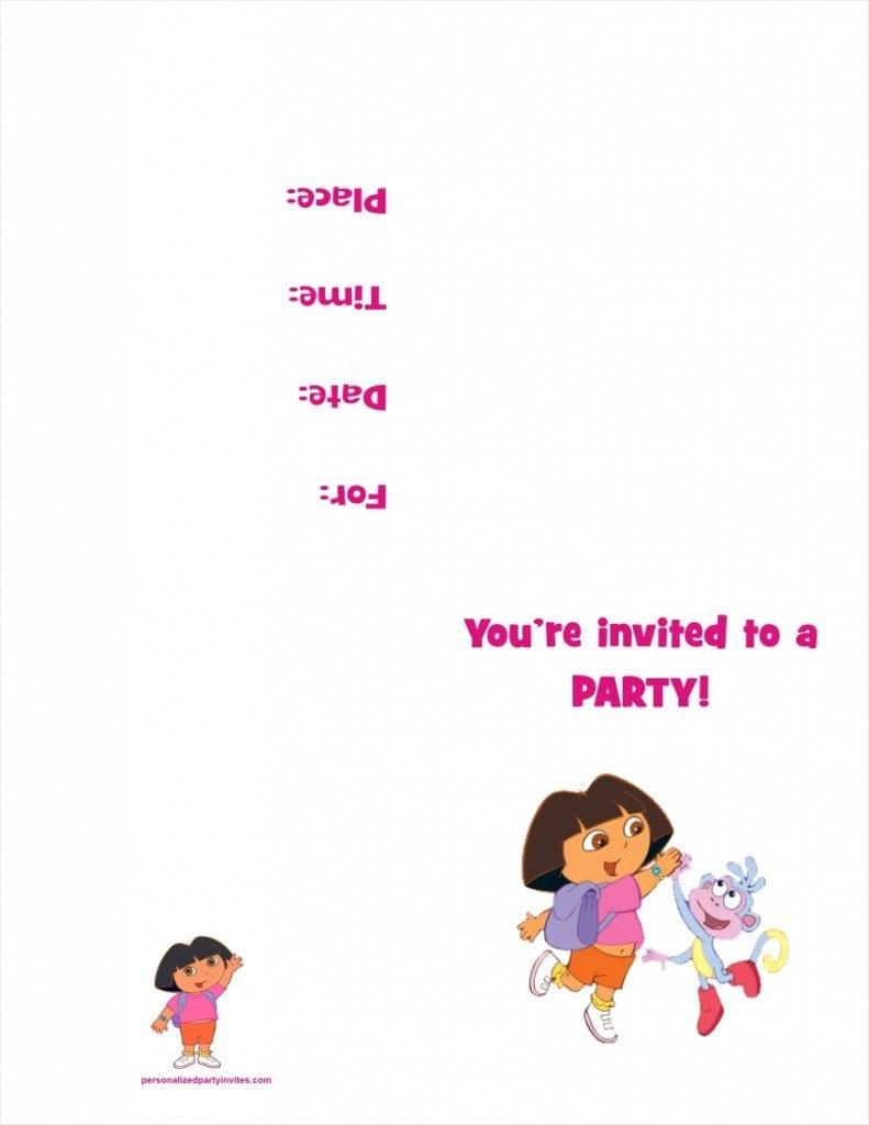 Dora The Explorer Invitation Free Templates 3