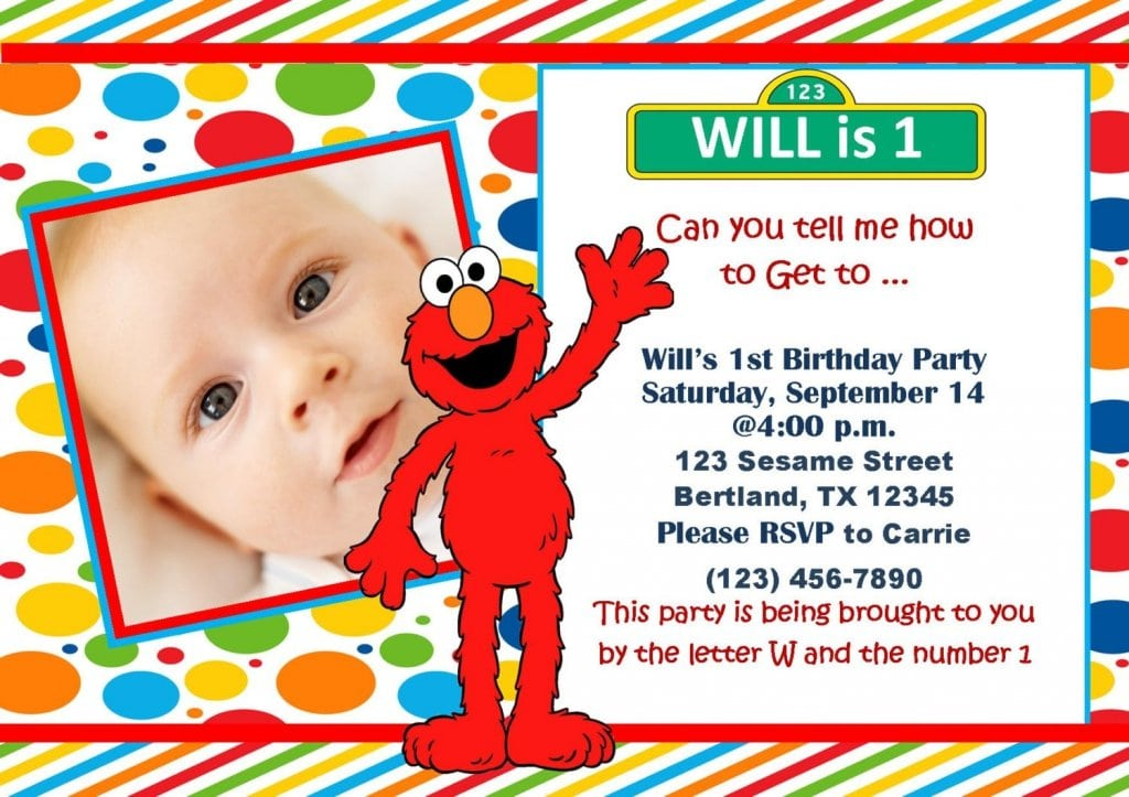 Elmo 1st birthday invitation printable for Elmo template for invitations