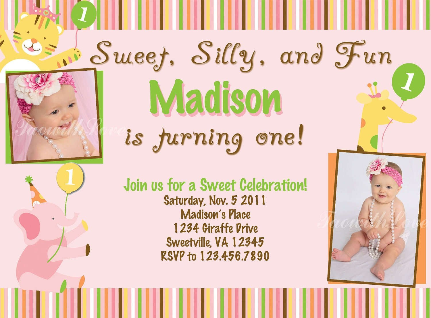 First Birthday Invitation Template - Birthday invitation cards for free download
