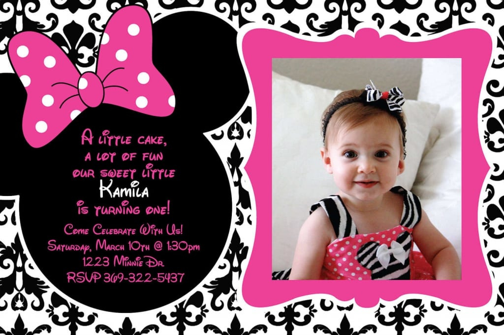 First Birthday Minnie Mouse Invitations