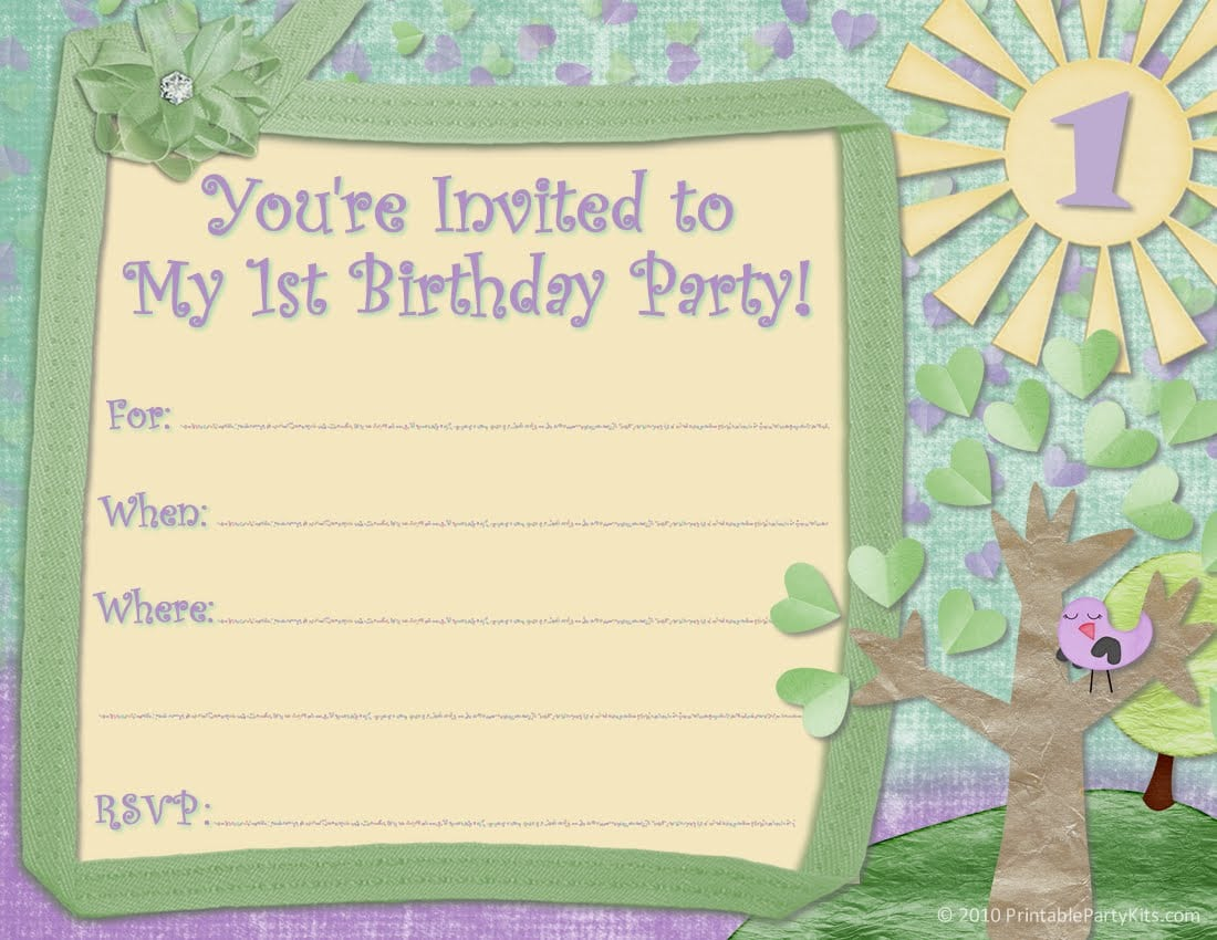 First Birthday Invitation Templates Free - First birthday invitation cards templates free