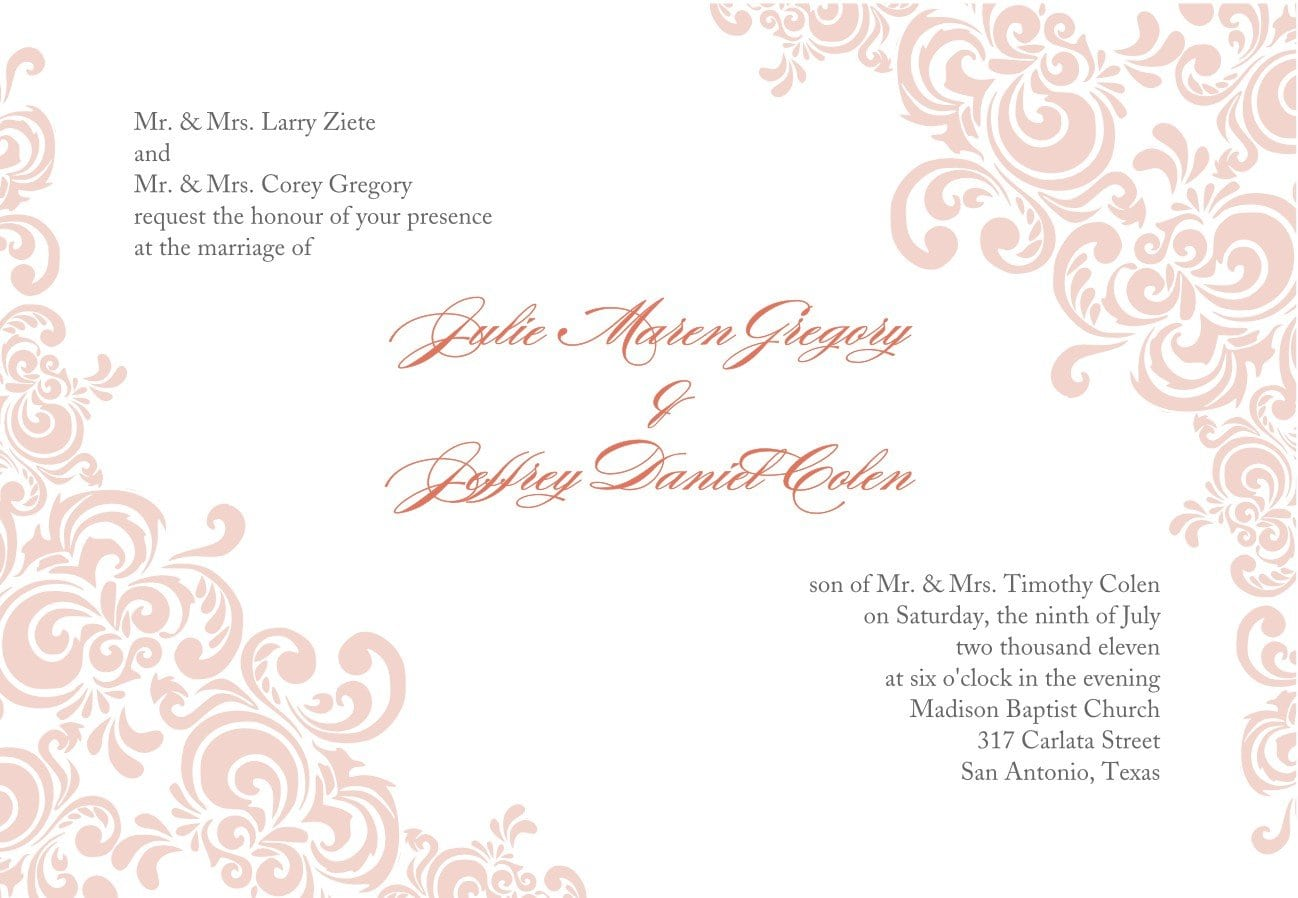 Blank And Plain Wedding Invitation Cards For Editing ...