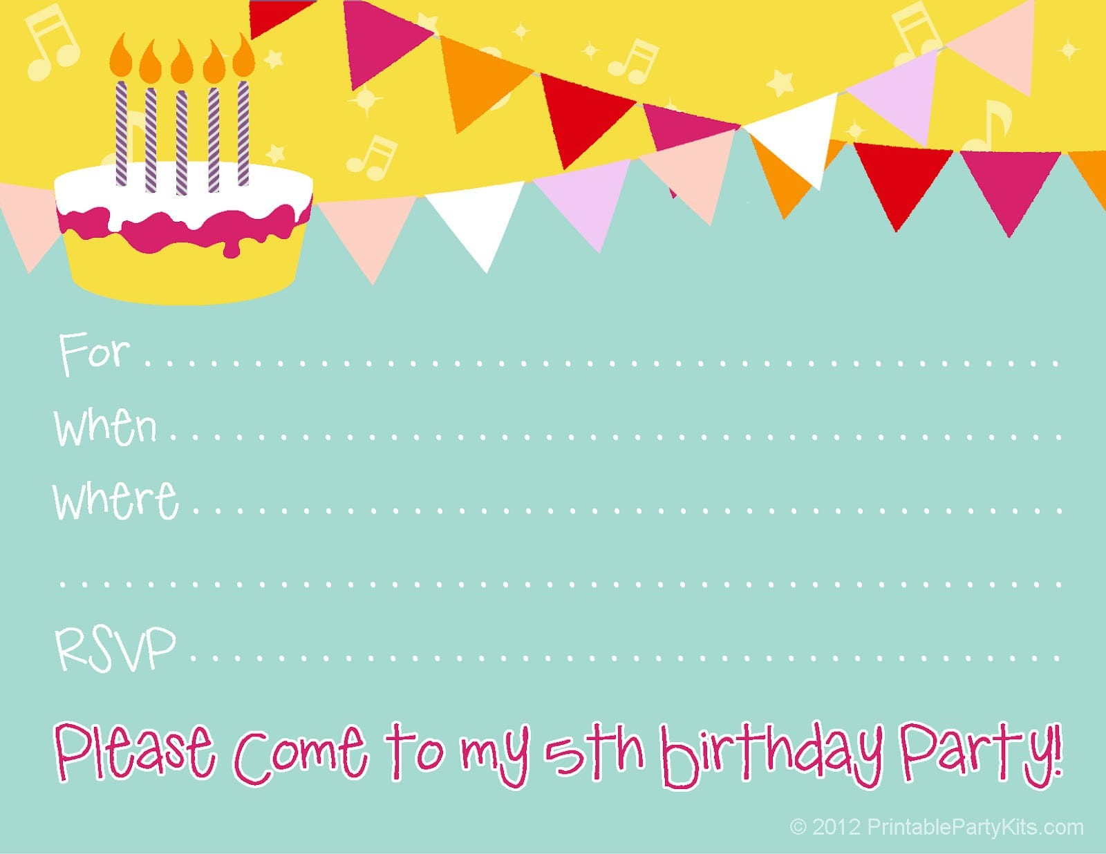 Free 1st Birthday Invitation Templates Printable 3