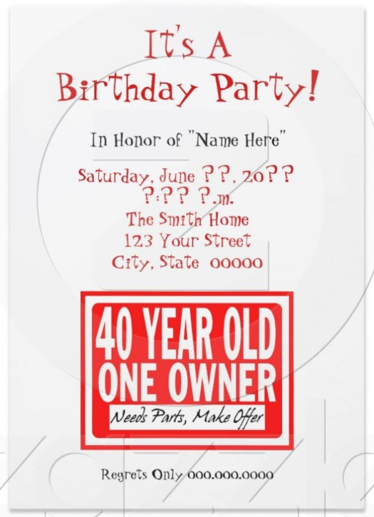 Free 40th Birthday Party Invite Templates 5