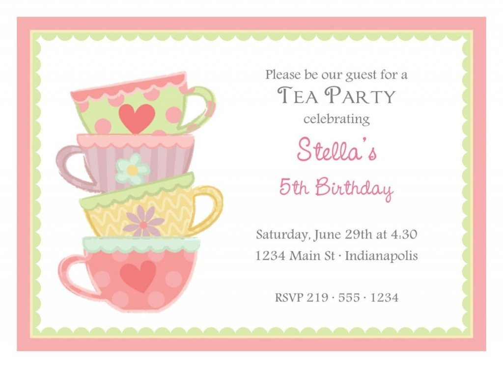 High Tea Party Invitation Templates Free
