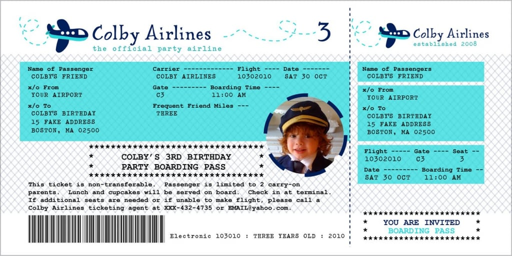 Free Airline Ticket Birthday Invitation Template