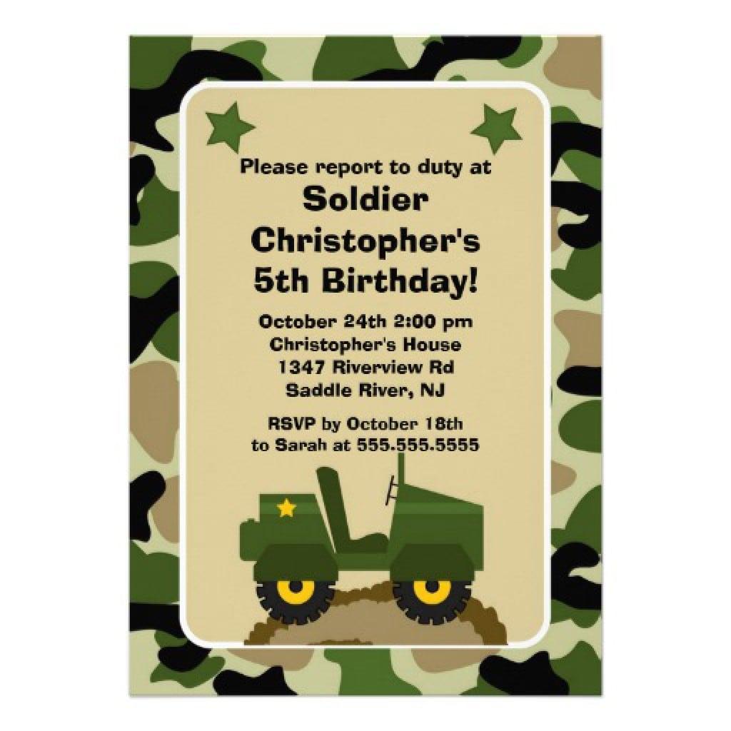 Free Army Birthday Invitation Templates