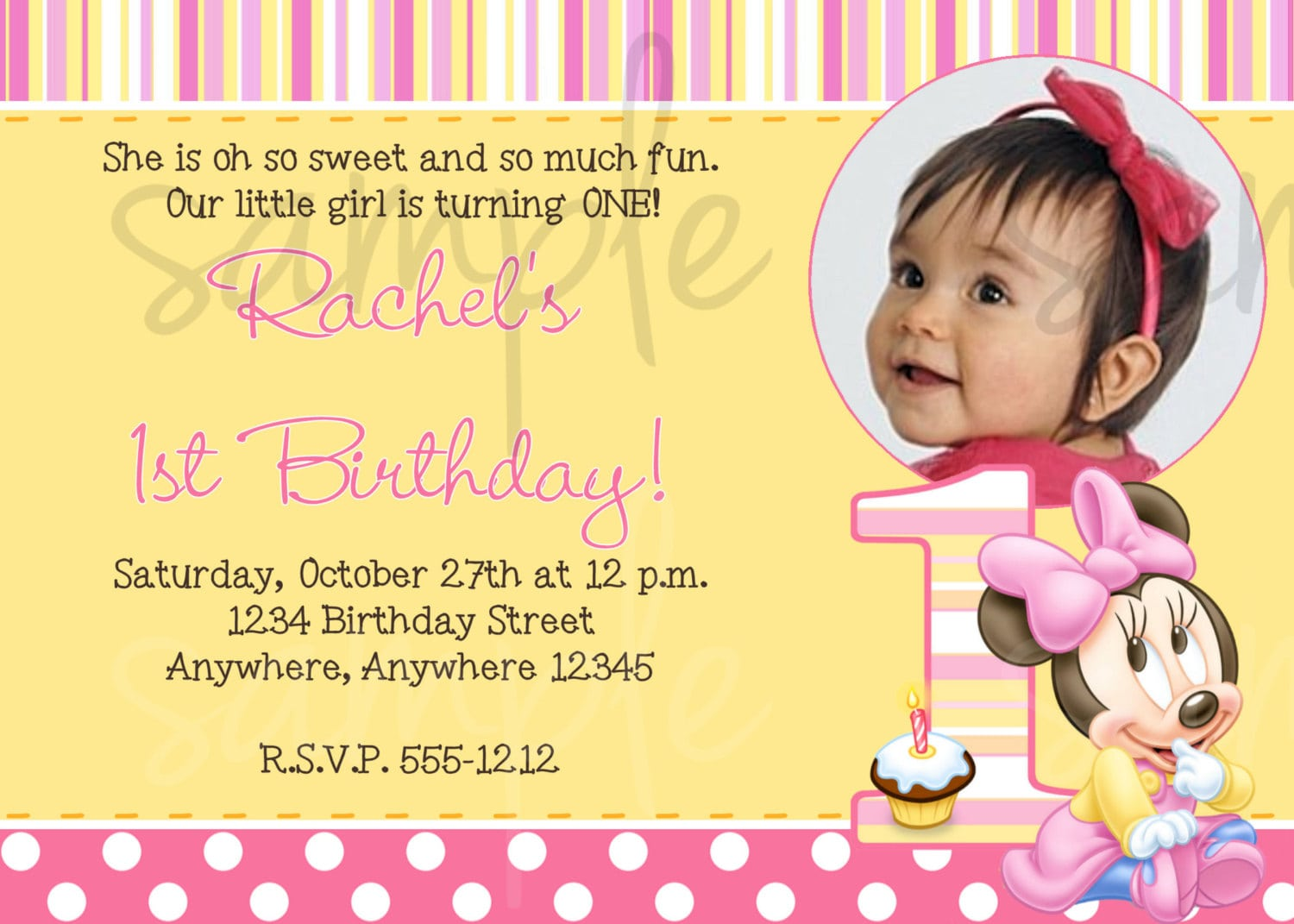 Free Baby Minnie Mouse 1st Birthday Invitations