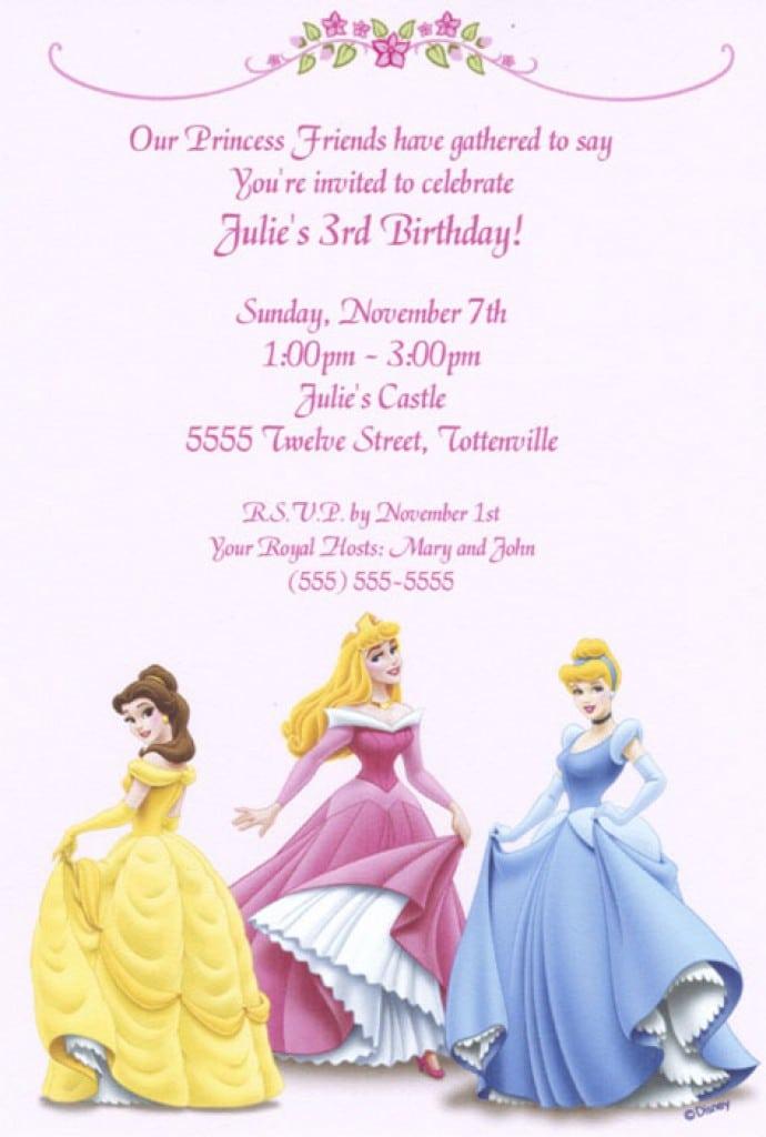 Free Disney Princess Birthday Invitations