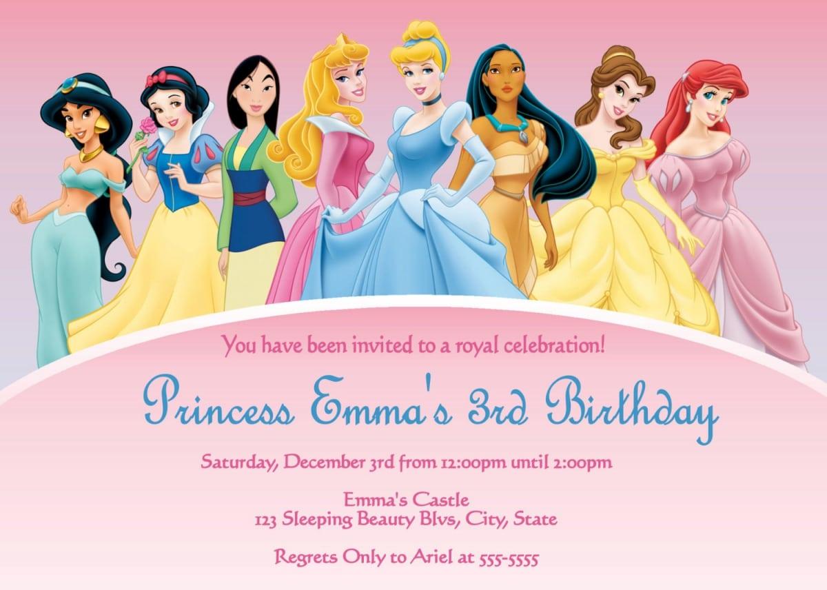 Free Disney Princess Invitation Cards