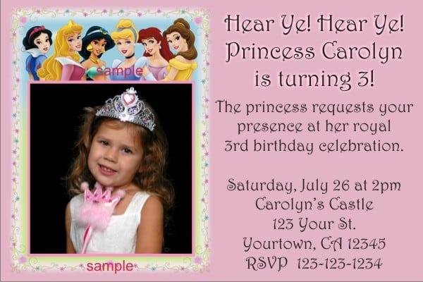 Free Disney Princess Invitation Templates 3
