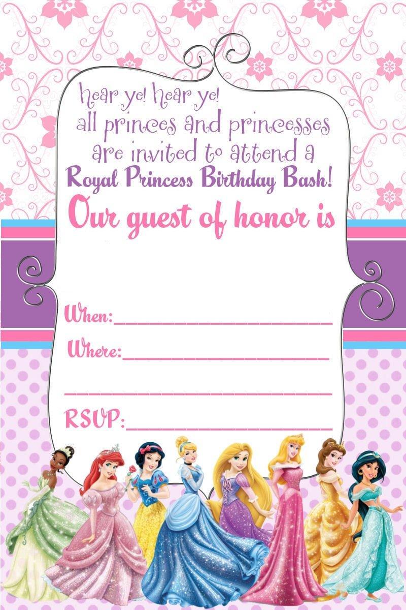 Free Disney Princess Invitations To Print