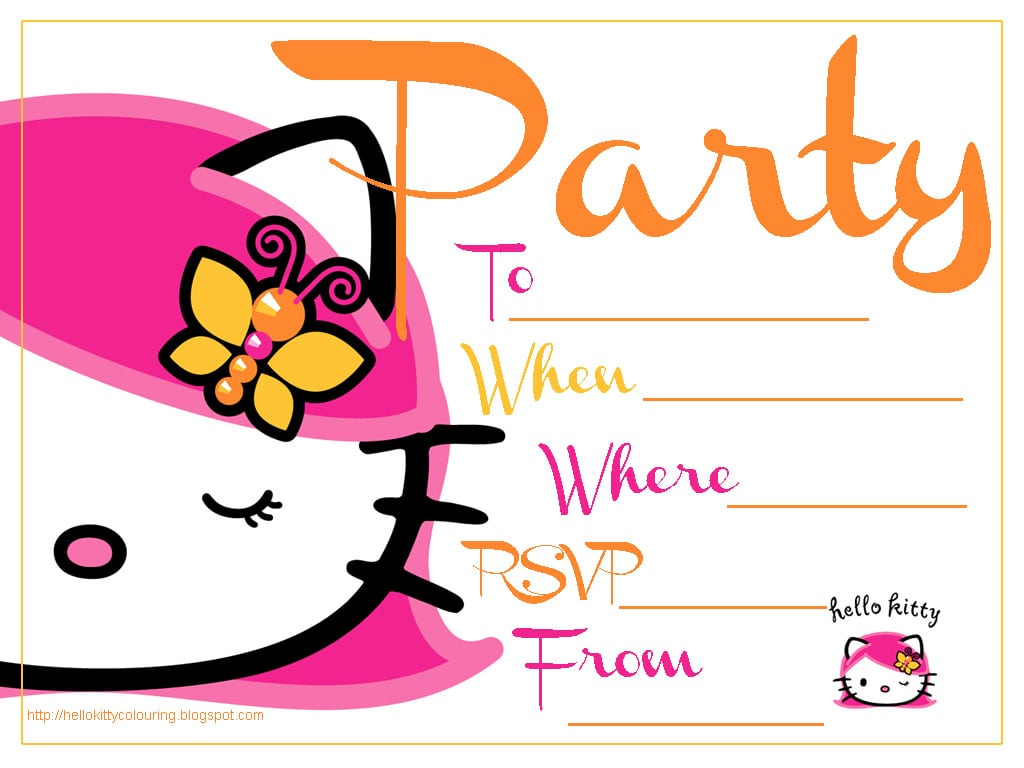 free hello kitty birthday invitation template