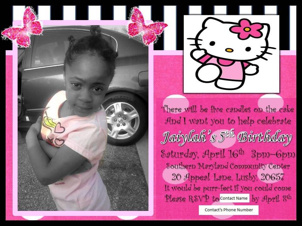 Free Hello Kitty Birthday Invitation Template 3