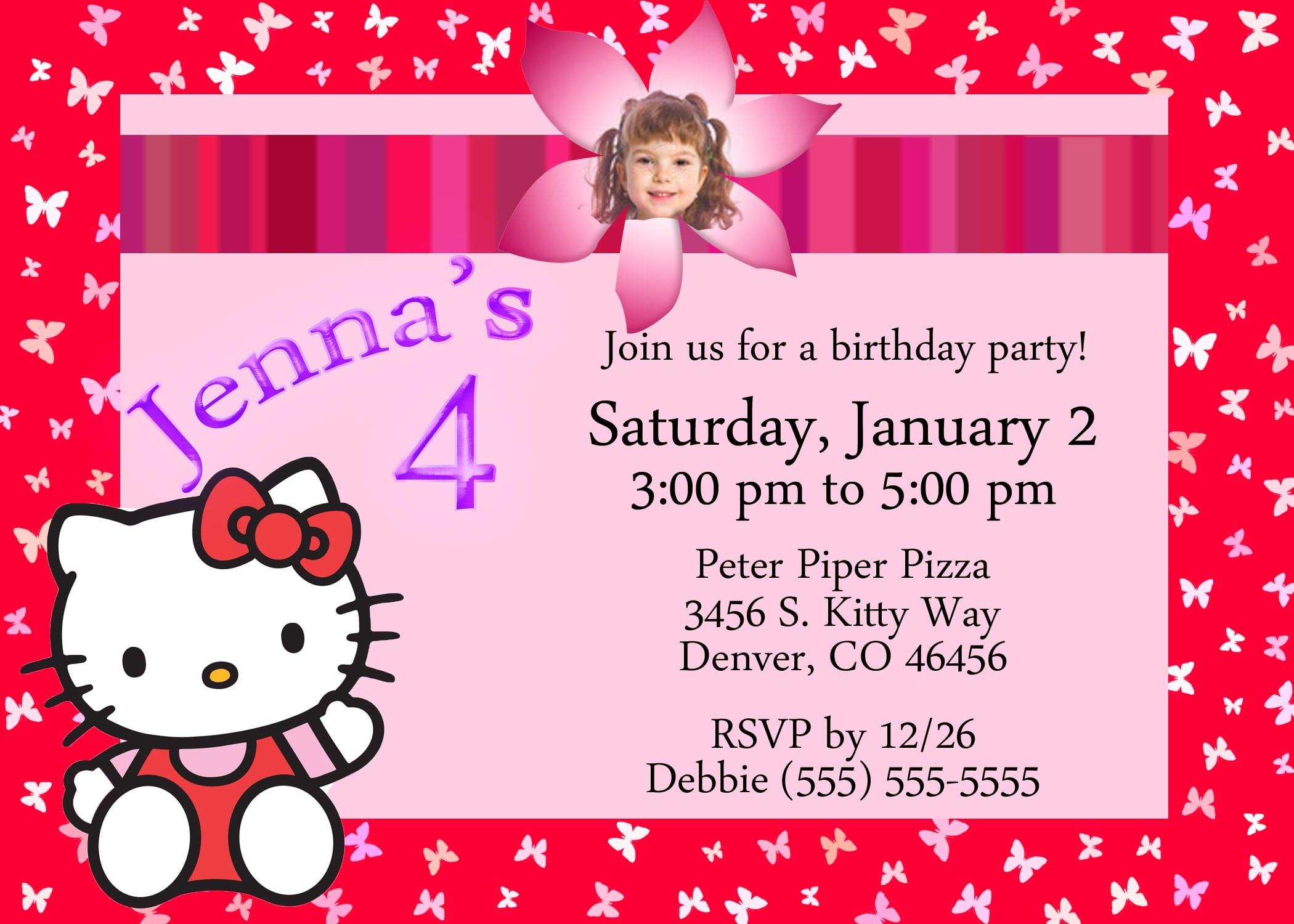 Free Hello Kitty Birthday Invitation Template 4