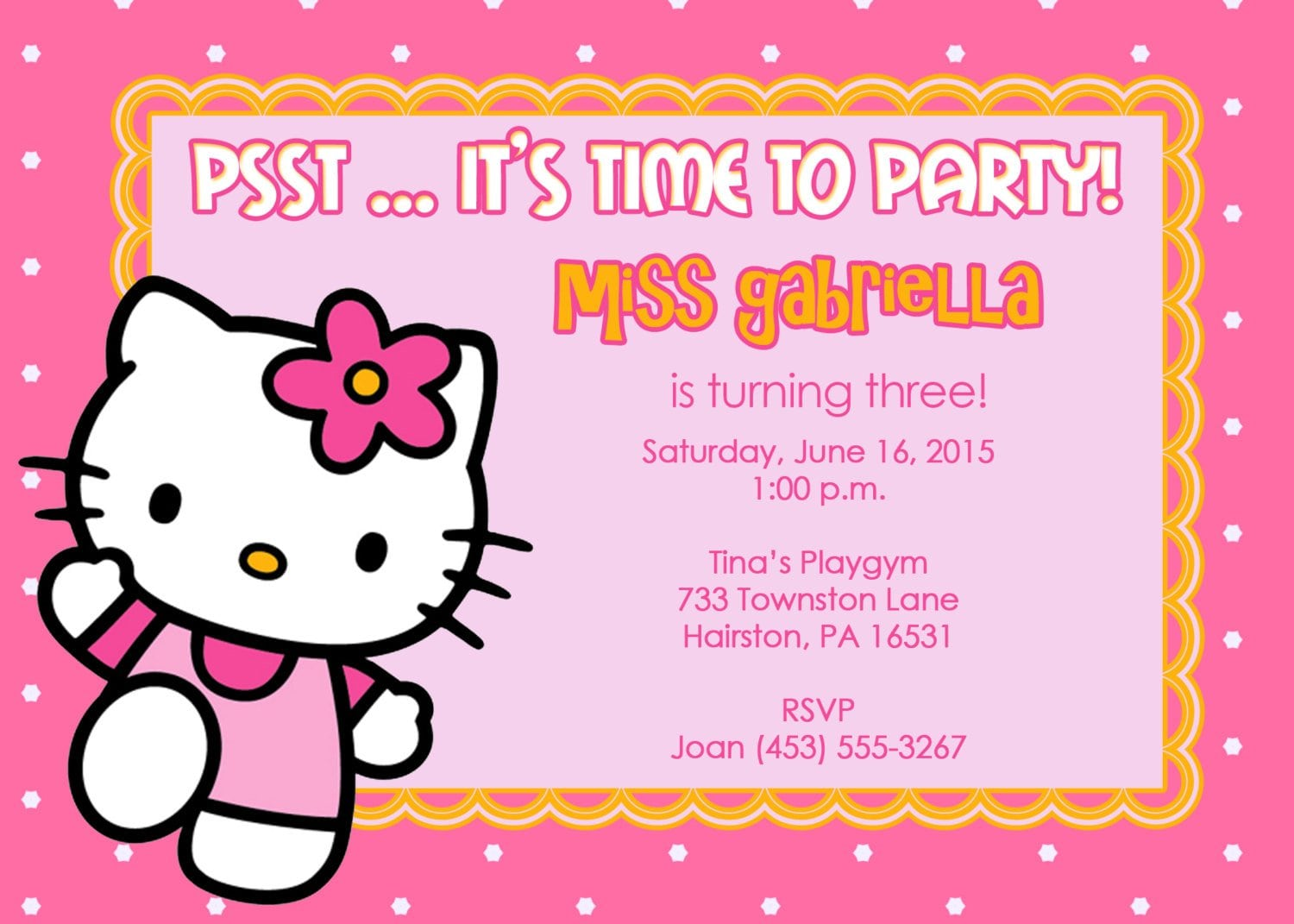 Free Hello Kitty Birthday Party Invitation Templates