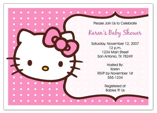 Free Hello Kitty Picture Invitations 5