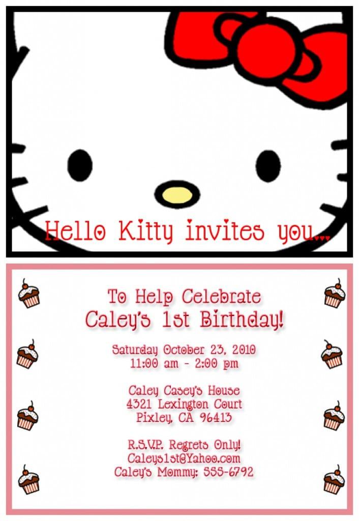 Free Hello Kitty Printable Invitations Template 2