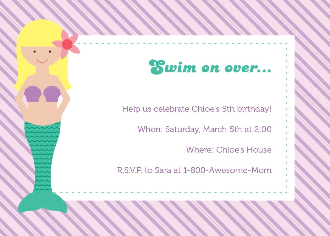 Free Invitation Template The Little Mermaid 3