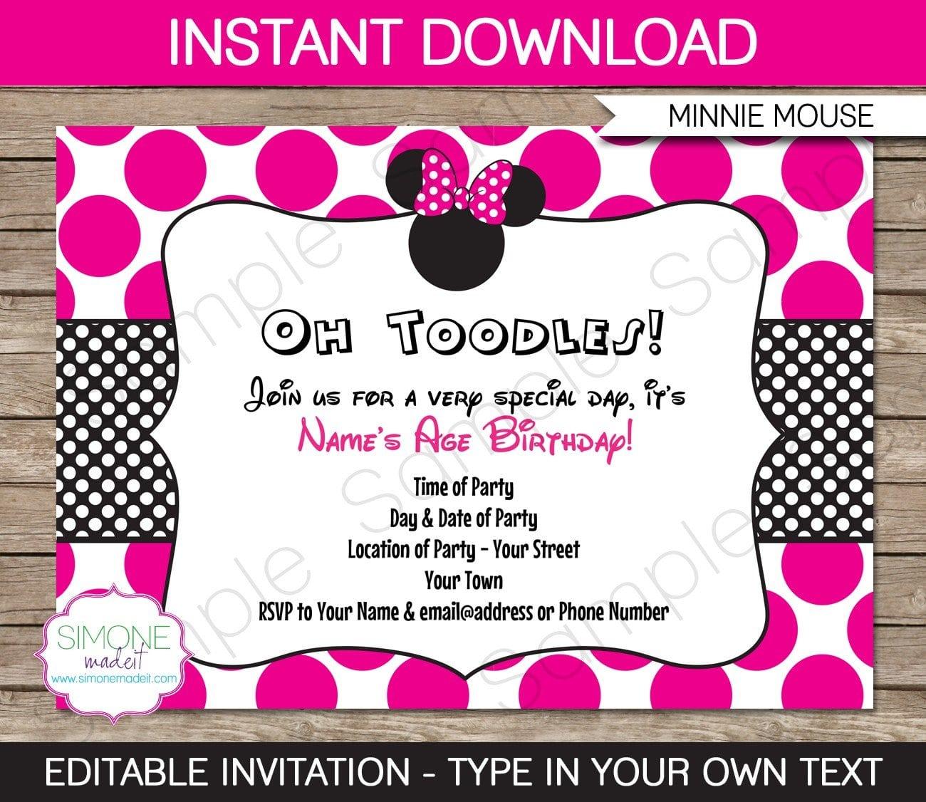 Free Invitation Templates Minnie Mouse 2015