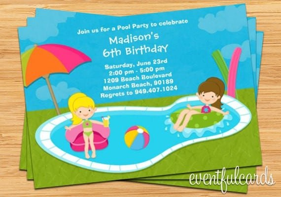 Free Kids Pool Party Invitations Printable 4