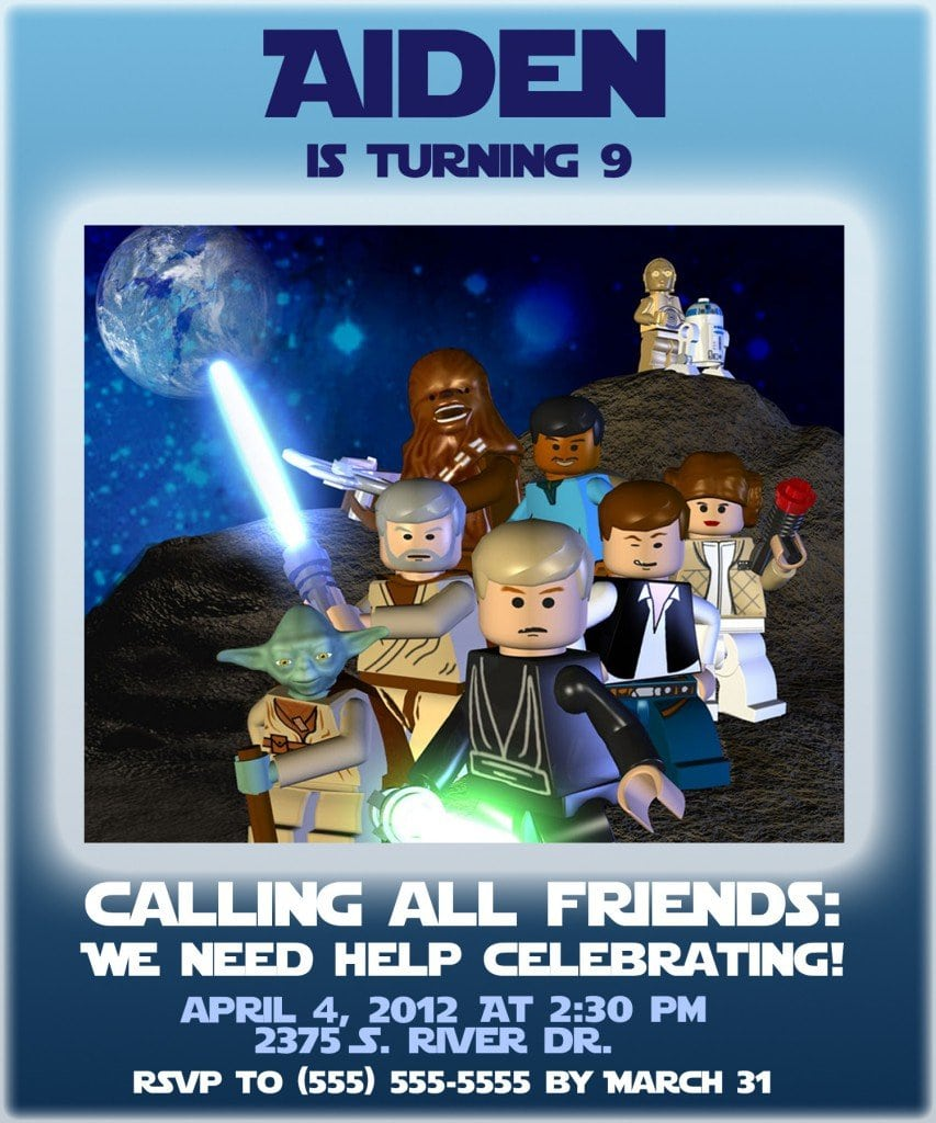 Free Lego Star Wars Party Invites Templates 4
