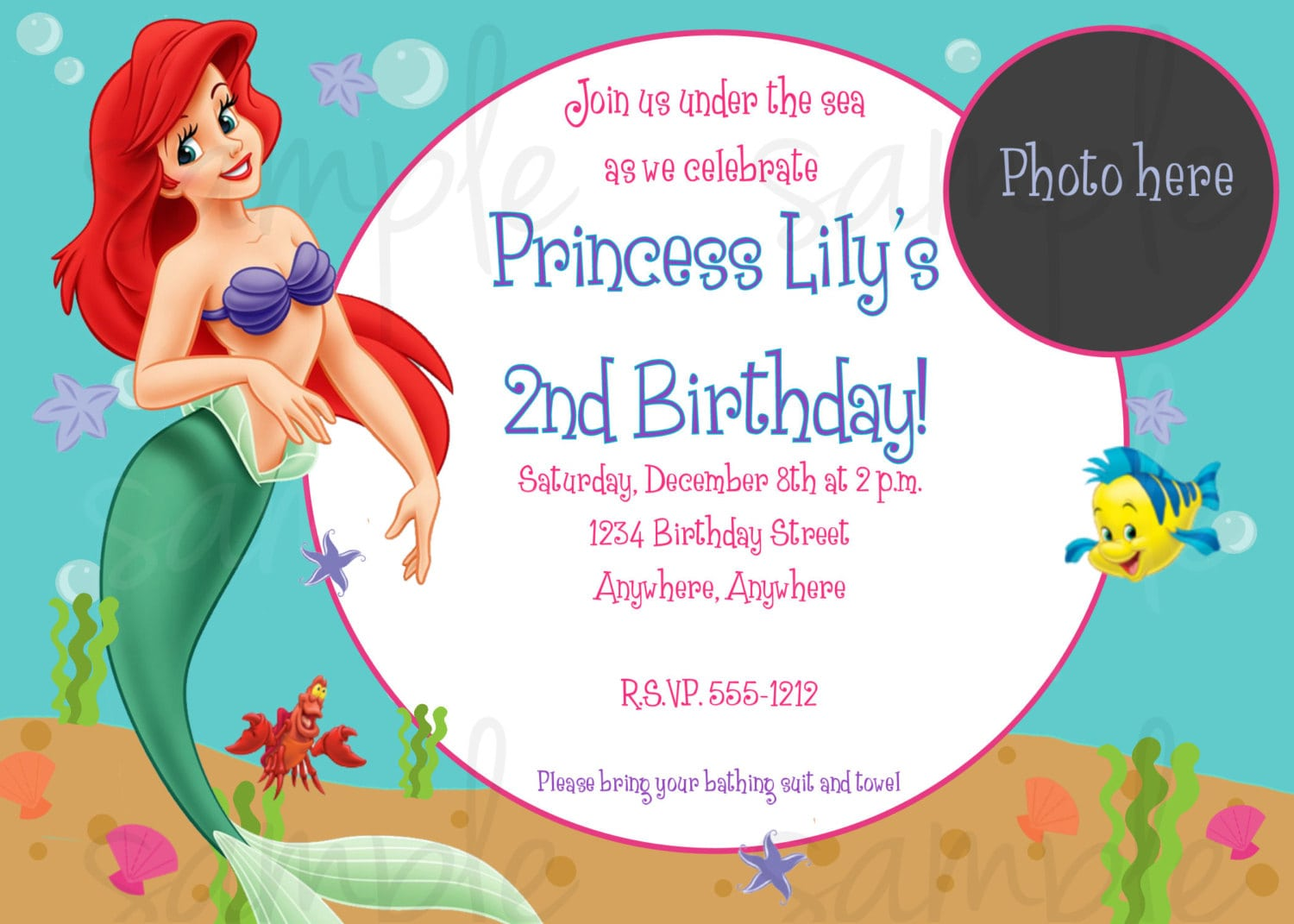Little Mermaid Birthday Invite Template - Little mermaid birthday invitation template