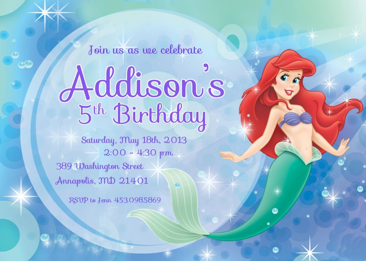 Free Little Mermaid Invitation Templates - Little mermaid birthday invitation template