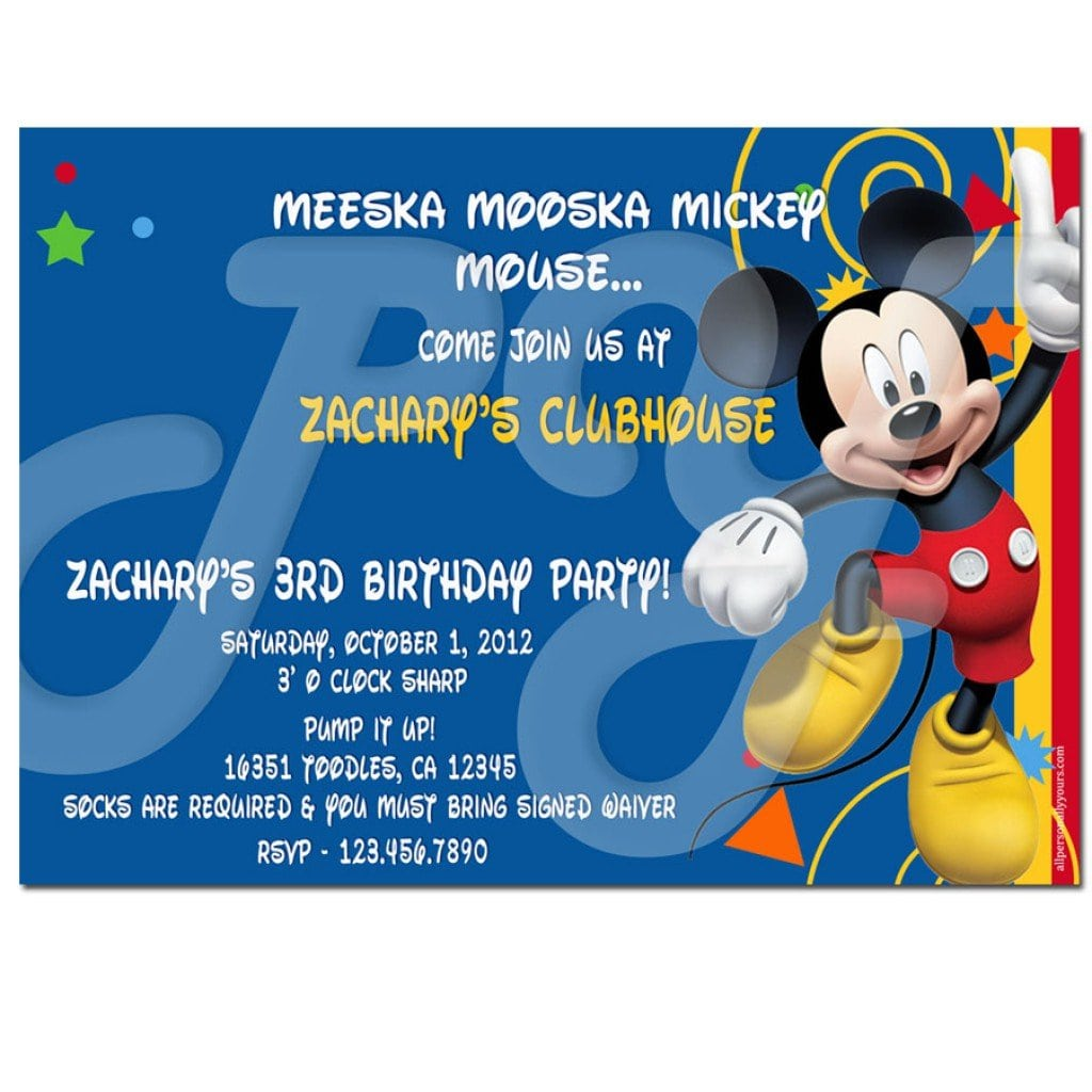 Free Mickey Mouse Clubhouse Birthday Invitation Templates 5 zF8emkRa
