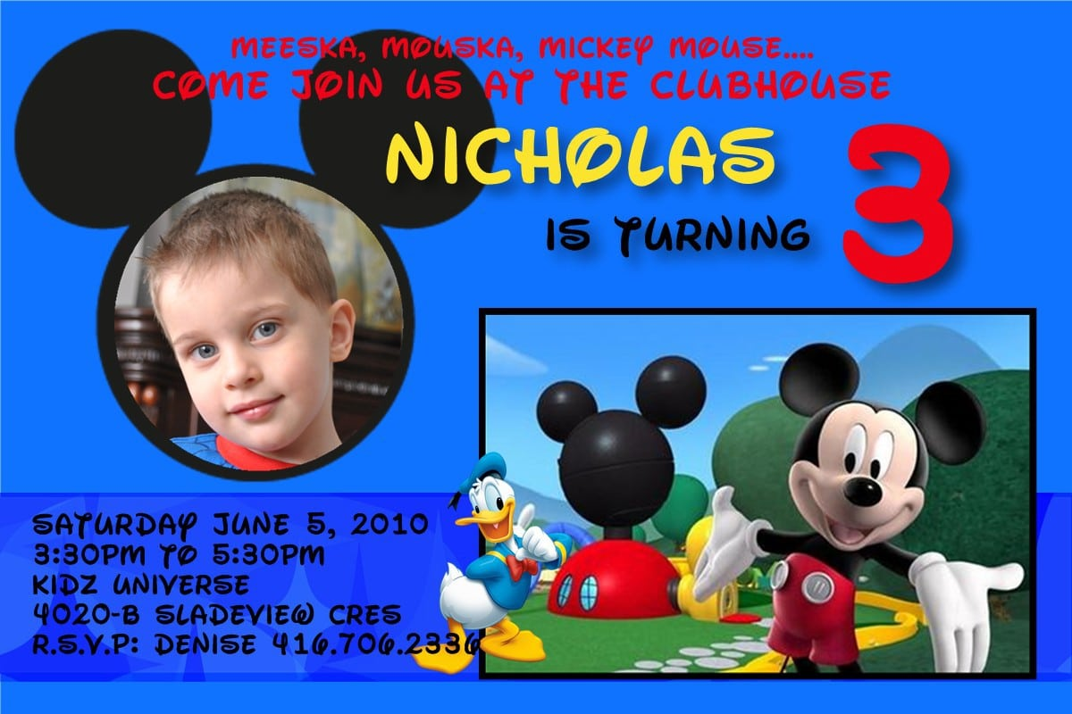 Free Mickey Mouse Clubhouse Invitations Template 2018
